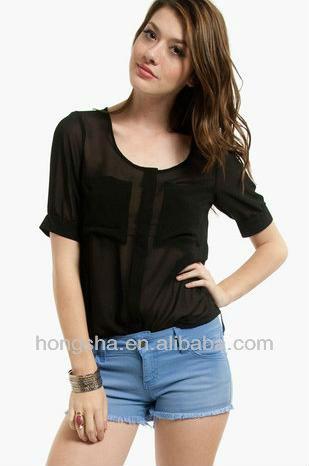 2013 modelos de tecido blusas de manga curta Neon Black Top Hst-094