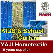 cute school design sliver coated kids blackout curtain