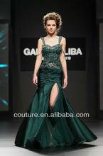 New Arrival mermaid emerald green sweetheart neck beaded ruffle zipper back evening dresses front split ed076