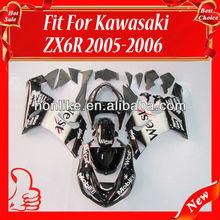ZX6R 2005 Fairing for KAWASAKI Ninja ZX6R 05-06 2005-2006 ZX-6R 2005 2006 ZX6R ZX 6R 05 06 White Black West