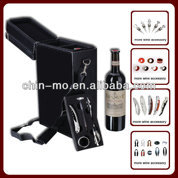 5pcs faux PU leather wine carrier with 2 ply zipper
