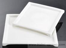 Wholesale Restaurant Super White Excellent Quality Ceramic Porcelain Fine Bone China Square Shaped Dinner Serving Plates Dishes