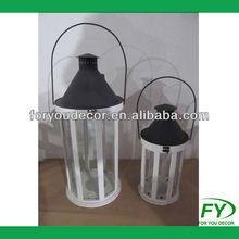 Middle size Hexagonal wood lantern with metal lid ML-1308-38