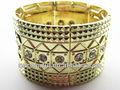 yb1574 chapado en oro con hilo elástico y gema de acrílico de gran tamaño elegante pulsera brazalete de oro