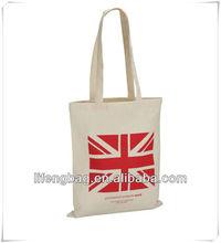 UK flag printinng cotton tote bag with long handle