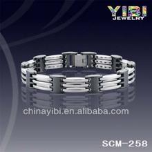 8mm Men's Tungsten & Black Ceramic 3-Tone Magnetic Healthy Bracelet Bangle