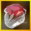 elegante de la boda joyería de venta caliente fina de ley anillo grande con piedra de color rojo