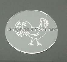 plastic placemats and coasters, with customer's logo,engraved cock image