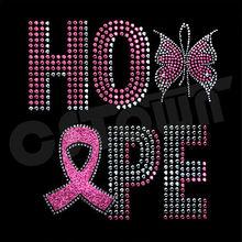 Hope word butterfly rhinestone transfer iron on ribbon