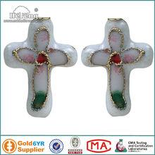 White Enameled Cloisonne Cross Pendant