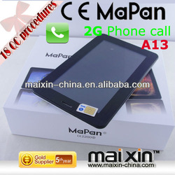 MaPan 7 inch Android 4.0 Boxchip A13 2G GSM Phone calling 800x480 512MB+4GB smart tablet manual