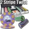 2 Stripe Twist Casino Custom Poker Chip Set with Aluminum Case - 300 Piece