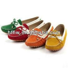 The plush leather flat fashion shoes