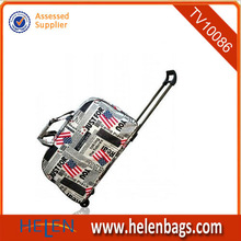 Newspaper style fashion travel bags on wheels