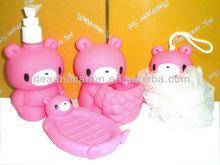 OEM 500ml vinly cartoon figure shampoo bottle bear red