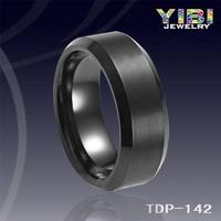 Pretty!! Tungsten Men's Black Brushed Stripe Ring, Unique Tungsten Wedding Bands,Penis Band