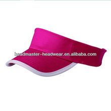 100% Burgundy cotton sun visor with white binding peak