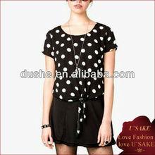 black&white women chiffon polka dot tops &blouse