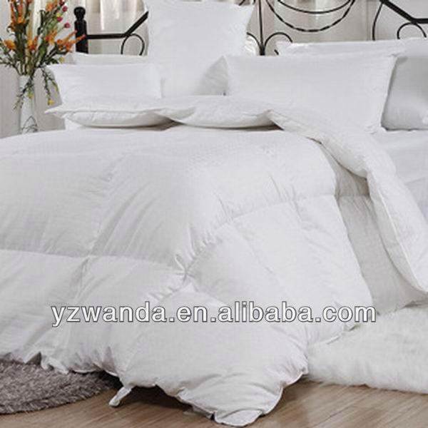 2013 100% bafle de algodón blanco caja 85% suave de pluma de ganso edredones con la bolsa de pvc