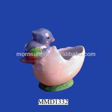 Ceramic bird and eggshell toothpick holder