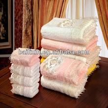 non twist yarn cotton embroidery&lace border towel