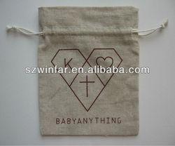 linen christmas drawstring gift bag