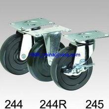 100mm black rubber wheel caster wheel fixed, swivel or swivel with lock plate top