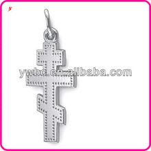 Meaningful polished 2 Dimensional Three Bar Greek Cross charm jewelry (H104061)
