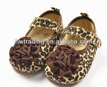 Impresión de los animales zapatos de lona, de color marrón leopard zapatos de bebé, marejane zapatos