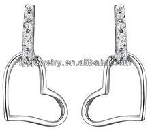silver big heart dangle earring
