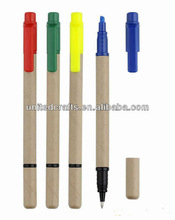 eco friendly paper ball pen with highlighter