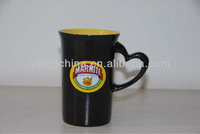 stoneware horn black mug with special heart handle