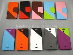 Card holder leather case for Sony ericsson LT25i V wallet flip leather case