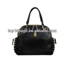 PU studed handbag Satchel bags with studded zip pller
