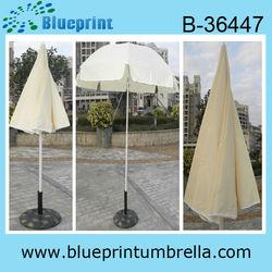 Beige Canopy Tilt Beach Umbrella Fiberglass Ribs