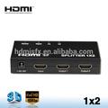 De alta resolución hdmi splitter 1x2 1 con entrada 2 salidas utilizado para ps, tv y así sucesivamente