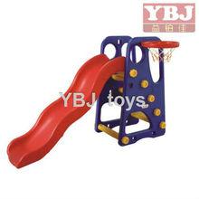 kindergarten school children plastic slide with basketball hoop