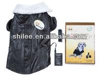 pet heated leather coat