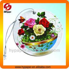 Professional manufacture colorful flower logo Ultra-long fragrance hanging paper air car freshener