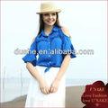 señoras verano azul zafiro de rocío de la solapa abierta del hombro blusa