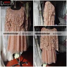 Elegant Long Sleeve Short Lace Pink Evening Dress