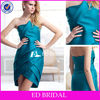 Asymmetrical Neckline Ruched Turquoise Satin Short Western Cocktail Dresses 2013