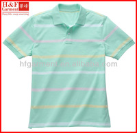 New men polos styles with aqua white and yellow striped