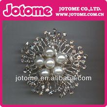 Silver Plated Clear Rhinestone Crystal Faux Pearl Cluster Wedding Bouquet Flower Pin Brooch
