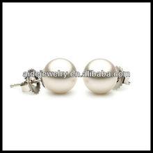 post with snap down Earrings Japanese Akoya Saltwater Cultured White Pearl Stud Earrings