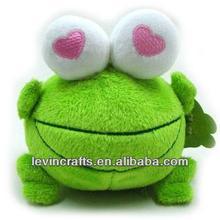 cute stuffed green frog with love big eyes plush toys