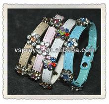 new design rhinestone flower pet collars