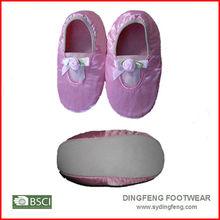 Baby fancy pink plat ballerina satin shoes