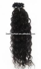 Kinky Curly Nail Tip/u-tip Natural Color Brazilian Human Hair Hot Fusion Hair Extension