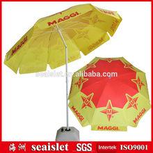 "Nestle Maggi promotional 42"" pvc fabric parasol,beach parasol,pvc parasol with steel tilt for african maket"